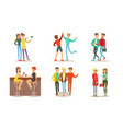 friends spending good time together set men and vector image vector image