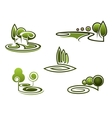 Green trees elements for landscape design vector image