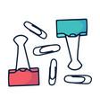 hand drawn paper clip doodle icon in cartoon vector image vector image