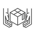 hands with cardboard box cargo related delivery vector image