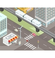 Isometric city street with transport vector image vector image