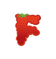letter f strawberry font red berry lettering vector image vector image