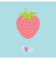 Love strawberry and leaf Flat design Happy vector image vector image