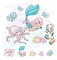 mermaid octopus school autumn sea vector image vector image