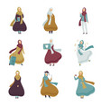 muslim women in different situations set arab vector image vector image