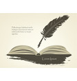 old feather with open book vector image vector image