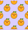 oranges seamless pattern with cute fruit kawaii vector image vector image