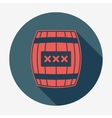 Pirate icon with long shadow cask or barrel Flat vector image