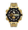 realistic watch chronograph gold black face vector image