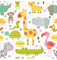 seamless pattern with baby jungle animals vector image vector image