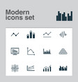 Set of graphs diagrams and statistics icons