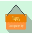 Signboard thanksgiving flat icon with shadow vector image vector image
