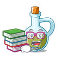 student with book small bottle of olive oil mascot vector image vector image