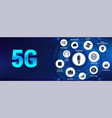 technology 5g banner with icons and keywords vector image vector image