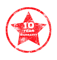 ten year warranty red grungy stamp vector image