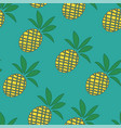 tropical pineapples background - seamless pattern vector image
