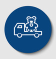 truck with bear white contour icon in vector image vector image