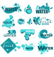 water splashes and text samples logos and emblems vector image