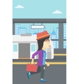Woman at the train station vector image vector image