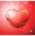 Heart red shape on red background vector image