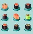 sushi flat isomeric icons vector image