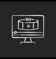 360 degree view video chalk white icon on black vector image