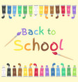 back to school paint tubes and brush art supplies vector image vector image