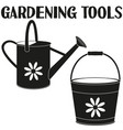 black and white garden watering silhouette set vector image