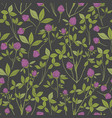 botanical seamless pattern with red clover on dark vector image