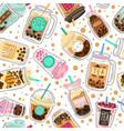 bubble tea seamless pattern taiwanese boba vector image