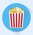 Bucket of popcorn colorful round icon vector image vector image