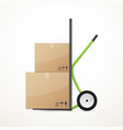 cardboard boxes on the hand trolley vector image