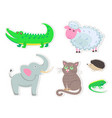 cartoon animals stickers isolated vector image vector image