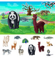 cartoon asian wildlife concept vector image vector image