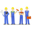 cartoon characters construction worker group set vector image vector image