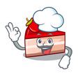 chef strawberry cake character cartoon vector image