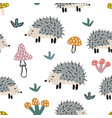 childish seamless pattern with cute hedgehog and vector image