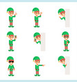 christmas elf santa claus helper in different vector image