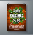 christmas party flyer with pine vector image vector image