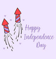 cute greeting card for independence day vector image vector image