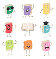 cute humanized books characters representing vector image vector image