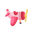 cute pink-red airplane on white background