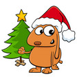 dog with christmas tree cartoon vector image vector image