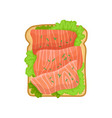 flat icon of appetizing sandwich with green vector image vector image