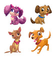 funny cartoon little puppies set vector image vector image