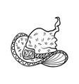 halloween doodle witch hat element vector image vector image