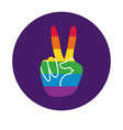 hand peace with gay pride flag block style vector image vector image