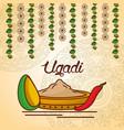 happy ugadi decorative food culture floral mandala vector image vector image