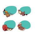 hipster doodle icons stickers set vector image