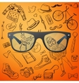 hipster glasses hand-drawn Hipster style elements vector image vector image
